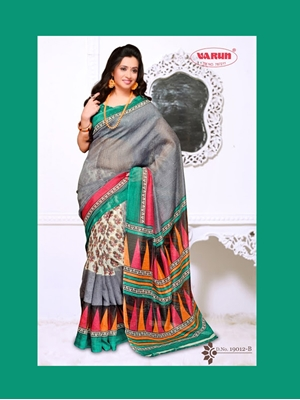 Picture of 19012B SeaGreen and SlateBlue Daily Wear Cotton Based Saree