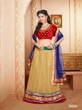 Picture of 51006Red and Beige Wedding Wear Valvet Lehenga Choli