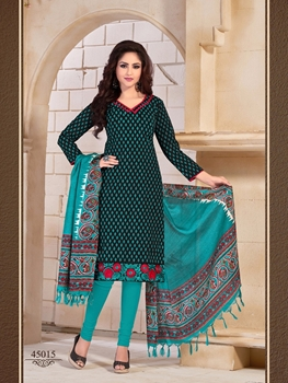 Picture of 45015Black and SeaGreen Daily Wear Bangalore Silk Chudidar Suit