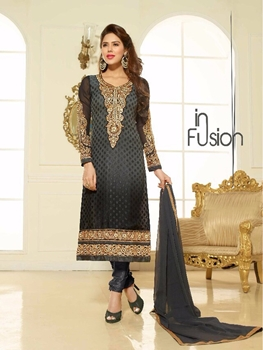 Picture of 13008Black Party Wear Embroidered Brasso Straight Suit