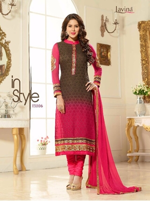 Picture of 13006CoffeeBrown and DarkMagenta Party Wear Embroidered Brasso Straight Suit
