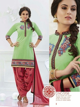 Picture of 5158LightGreen and Salmon Party Wear Banarasi Jaccard Patiayala Suit