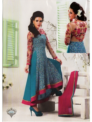 Picture of 5155Blue and Pink Party Wear Anarkali Suit
