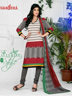 Picture of 12014CornellRed and Black Daily Wear Cotton Print Salwar Suit