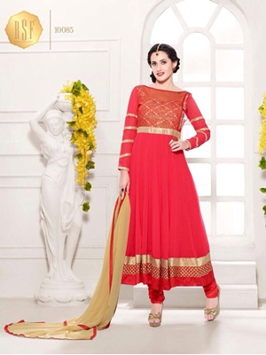 Picture of 10085RoseRed Party Wear Georgette Anarkali Suit