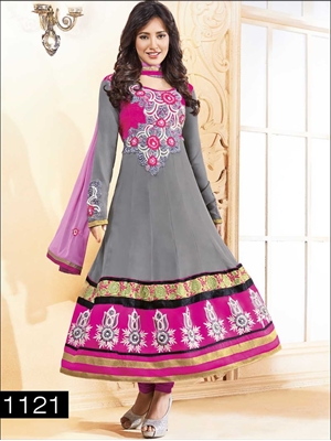 Picture of 1121 Gray and Magenta Anarkali Suit