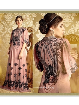 Picture of 5708CherryBlossomPink and Black Party Wear Pure Bamberg Georgette Designer Suit