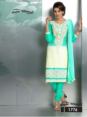 Picture of 1776 Aqua Green and Ivory Party Wear Nazneen Straight Suit