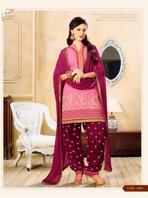 Picture of 4761NeonPink and Jassberry Party Wear Cotton Patiyala Suit