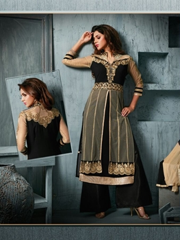 Picture of 802Black and Bronze Party Wear Georgette Straight Suit