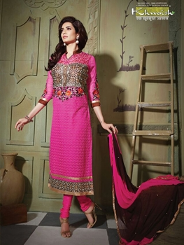 Picture of 6104Magenta Party Wear Pure Nett Straight Suit