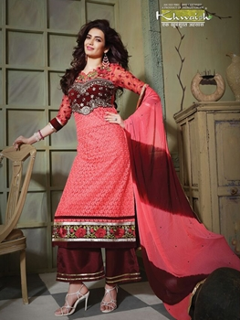 Picture of 6102BrightPink and DeepMaroon Party Wear Pure Nett Straight Suit