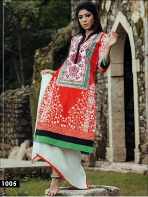 Picture of 1005White and Red Cotton Lawn Daily Wear Kurti
