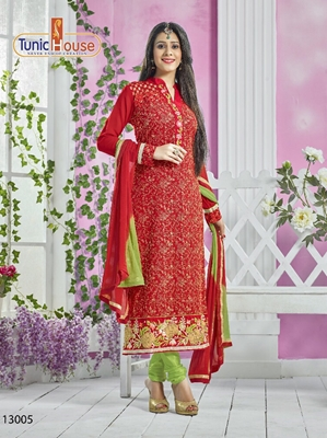 Picture of 13005Red and LightGreen Party Wear Georgette Straight Suit