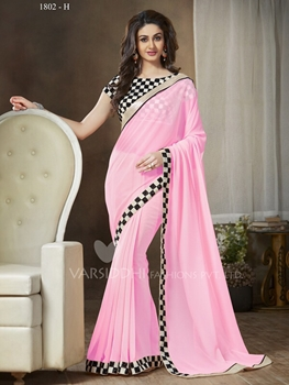 Picture of 1802H LightPink and Black Party Wear Georgette Saree