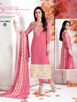 Picture of 19013Pink and Ivory Georgette Party Wear Straight Suit