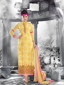 Picture of 14020LightYellow and Pink Faux Georgette Straight Suit