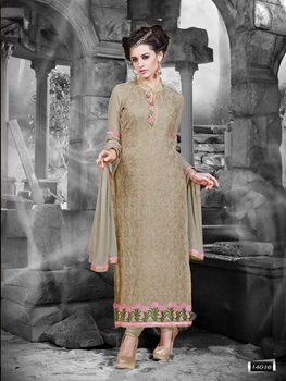 Picture of 14016LightBrown and LightPink Faux Georgette Straight Suit