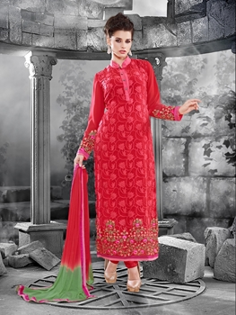 Picture of 14013Red and Green Faux Georgette Straight Suit