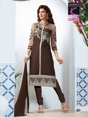 Picture of 411BistreBrown and White Pure Cotton Daily Wear Long Straight Suit