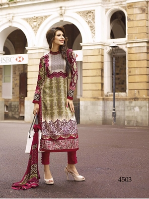 Picture of 4503 Maroon and Light Yellow Printed Cotton Satin Straight Suit