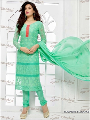Picture of 1867SpringGreen and CreamsonRed Pure Chiffon Straight Suit