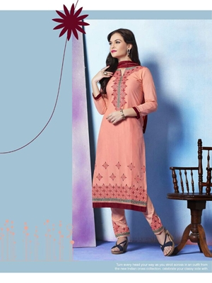 Picture of 907Pink and Maroon Cotton Straight Suit