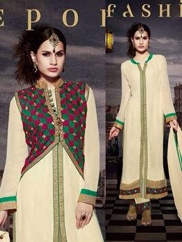 Picture of 10117 Ivory and Sea Green Faux Georgette Designer Suit