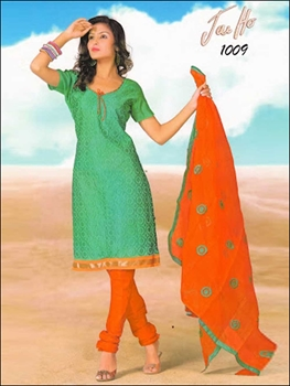Picture of 1009SeaGreen and OrangeRed Chanderi Chudidar Suit