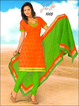 Picture of 1005FantaOrange and ParrotGreen Chanderi Chudidar Suit