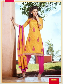 Picture of 7104 Yellow and Magenta Chanderi Cotton Salwar Suit