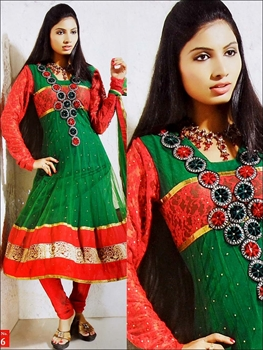Picture of 16 Orange Red and Green Net Anarkali Suit