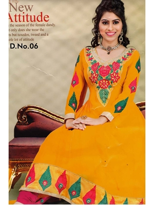 Picture of 06Yellow and Red Georgette Anarkali Suit