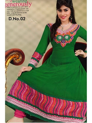 Picture of 02Green and DeepPink Georgette Anarkali Suit