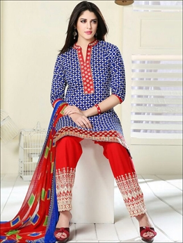 Picture of 05 Blue and Red Cambric Cotton Straight Suit