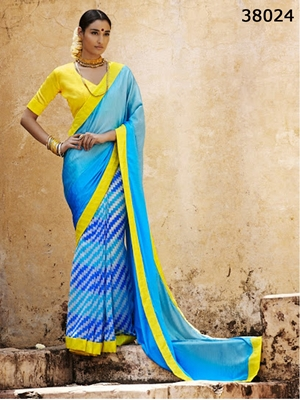 Picture of 38024SkyBlue and Yellow  Satin Georgette Saree
