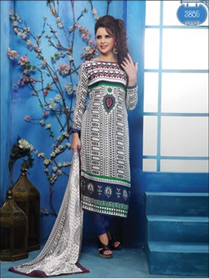 Picture of 3805White and Blue Printed Glace Cotton Straight Suit
