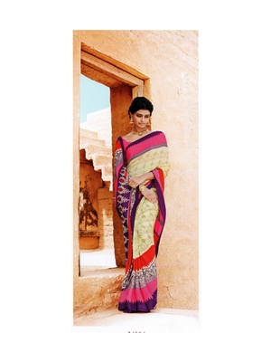 Picture of 34004DeepPink and PeachOrange Crepe Saree