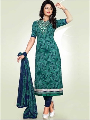 Picture of 1679ASeaGreen and MindnightBlue Cotton Dress Material