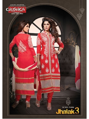 Picture of 9407White and Red Cotton Straight Suit