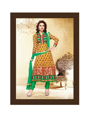 Picture of 51008TurmericYellow and SeaGreen Anarkali Suit