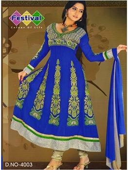 Picture of 4003 Blue and Green Georgette Anarkali Suit