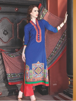 Picture of 0777C Blue and Red Cotton Jacquard Straight Suit