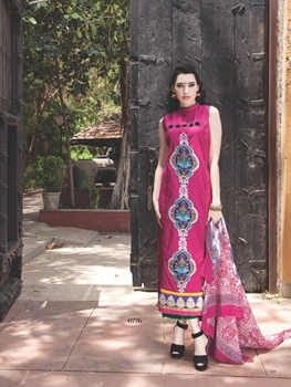 Picture of 0776C Pink and Purple Cotton Jacquard Straight Suit