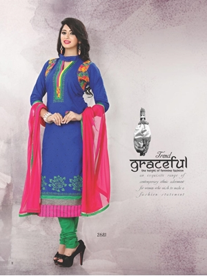 Picture of 2681 Royal Blue and Pink Satin Cotton Straight Suit