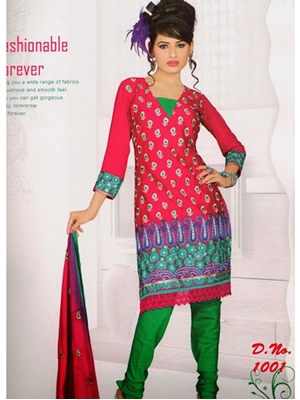 Picture of 1001Crimson and Green Georgette Chudidar Suit