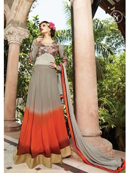 Picture of 18012TanBrown and OrangeRed Georgette or Net Designer Suit