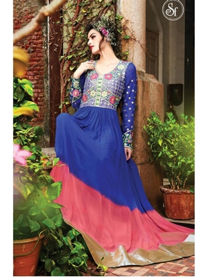 Picture of 18001RoyalBlue and HotPink Georgette Desiger Suit
