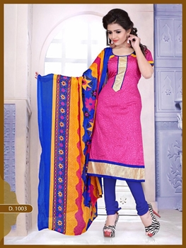 Picture of 1003 Designer Magenta Chudidar Suit