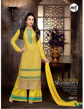Picture of 58011 Yellow and Sea Green Georgette Straight Suit